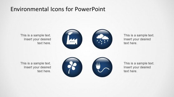 Flat Environmental PowerPoint Icons Blue and White with 3D Effect