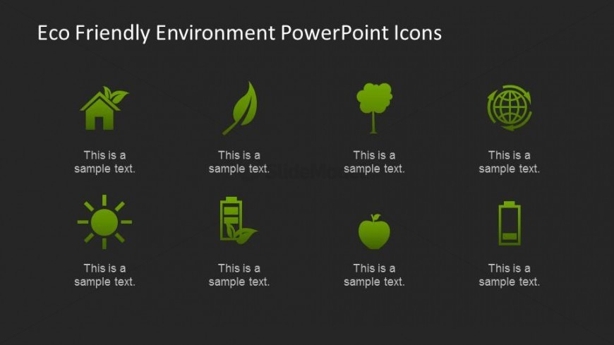 Black background eco friendly icons