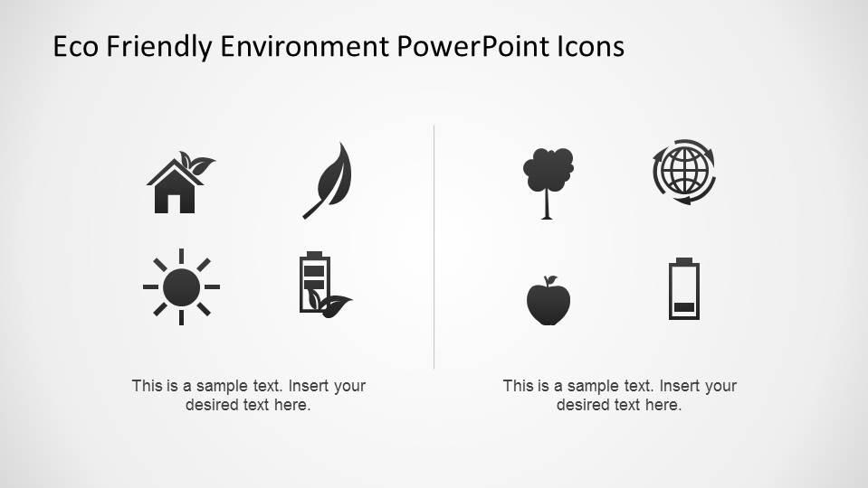 Flat PowerPoint Icons representing Environmental topics