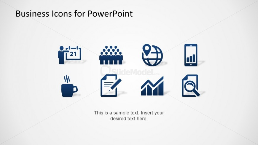 Blue Background Flat PowerPoint Icons