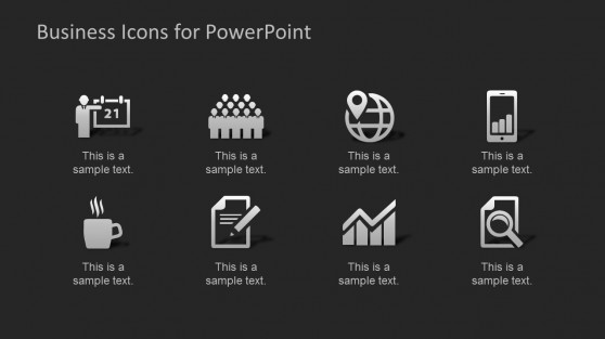 Black Background Flat Design PowerPoint Icons