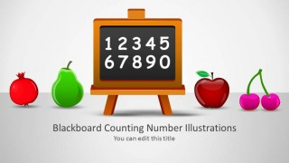 Blackboard with numbers and fruit illustrations splash page