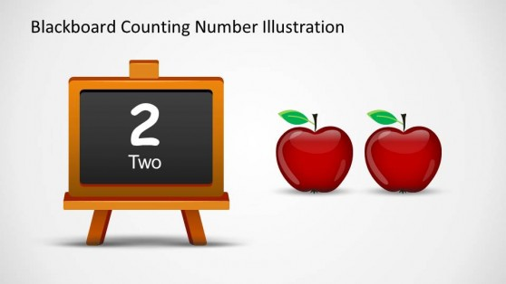 Number Two Written in Blackboard With Two Apples