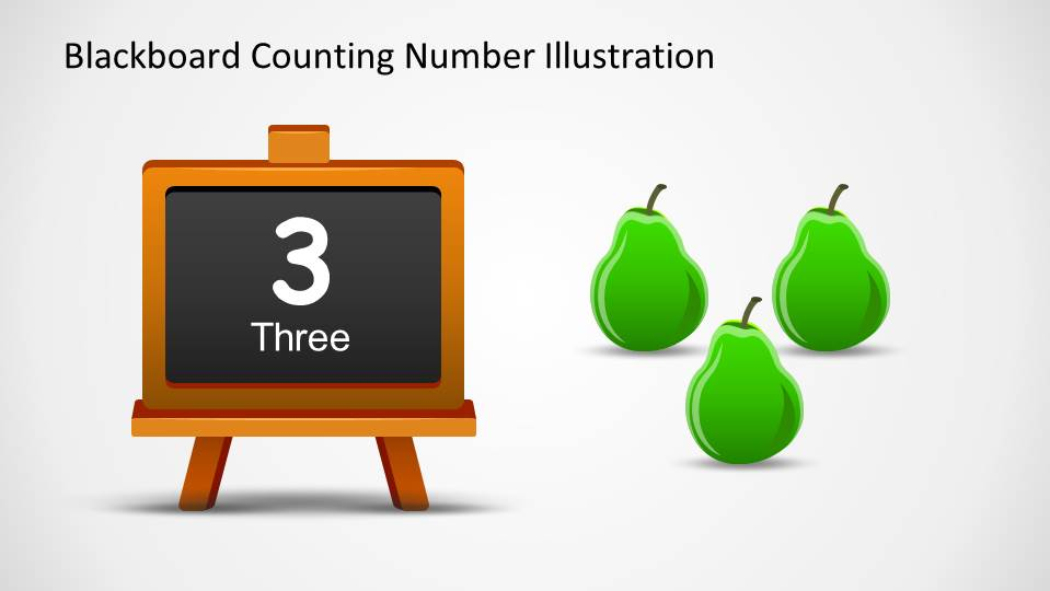Three Pears and a Blackboard with number (and word) Three written down