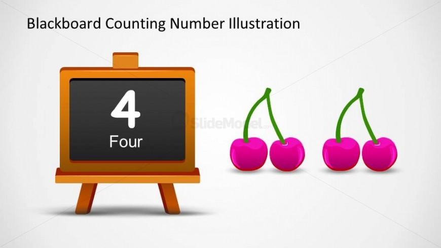 Four cherry PowerPoint shapes and a 4 written in number and word in the blackboard