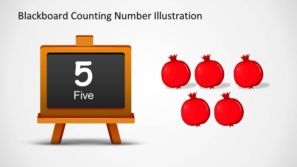 Five onions at the right side of a blackboard with the number and word 5 written down