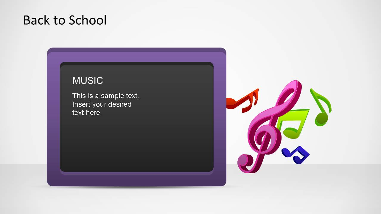 Purple border Blackboard with Music written down, composed with Music Symbols PowerPoint Shapes.