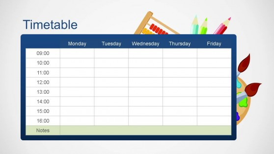 School Editable Timetable PowerPoint Template