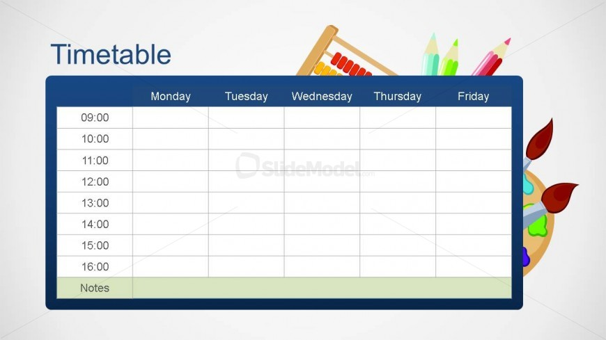 slide design contains an editable school timetable PowerPoint template ...
