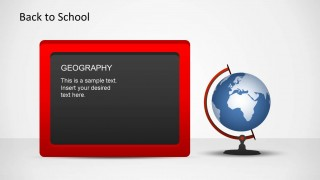 Red Border Blackboard and a Globe for a Geography theme.