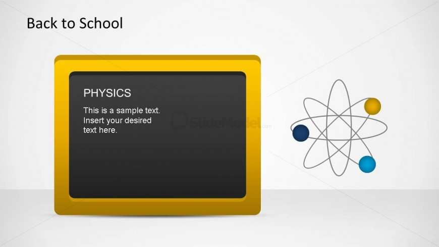 Yellow border blackboard PowerPoint shape composed with an atom PowerPoint shape.
