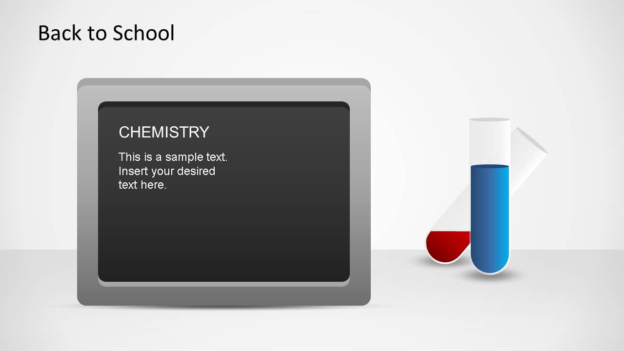 Grey border blackboard with Chemistry title with test tubes PowerPoint Shapes.