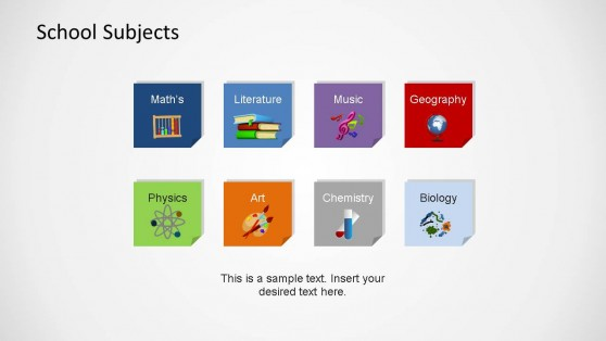 School Course Icons PowerPoint Shapes
