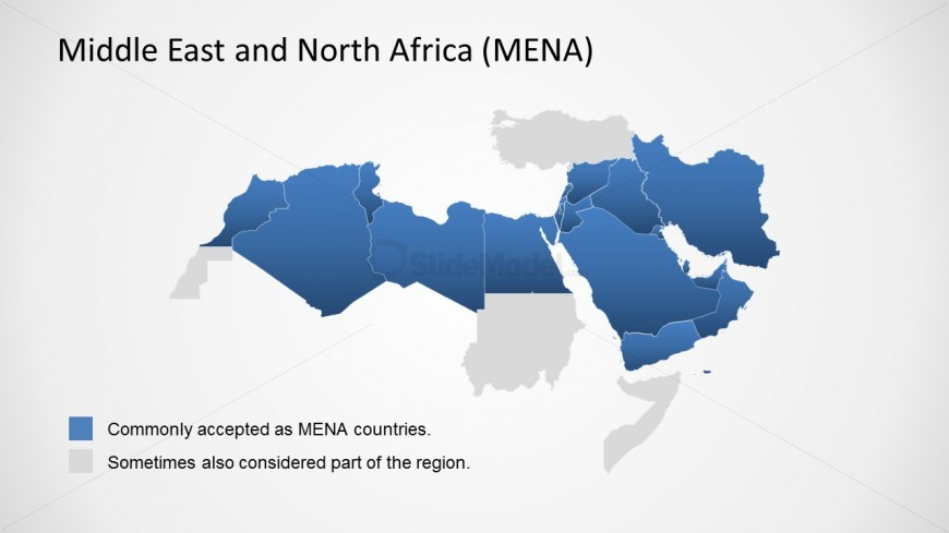 Middle East and North Africa Outline PowerPoint Map   SlideModel