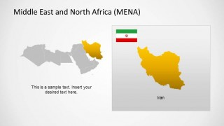 Iran PowerPoint Outline Map and Flag highlighted in MENA Region