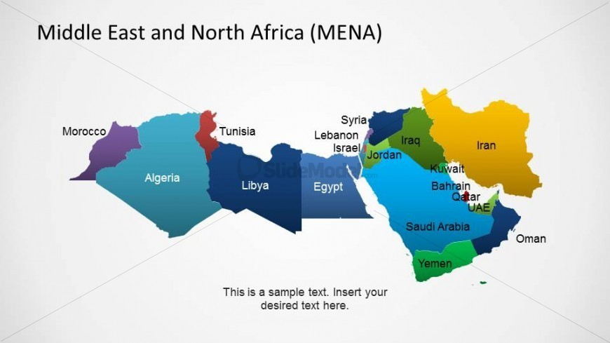 Middle East and North Africa Political Outline Map   SlideModel