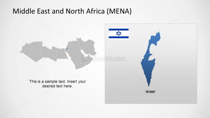 Middle East and North Africa Region (MENA) with Israel Highlighted and its Flag