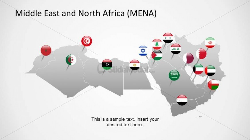 PowerPoint Map with Flag Icons of the Middle East and North Africa Region Countries