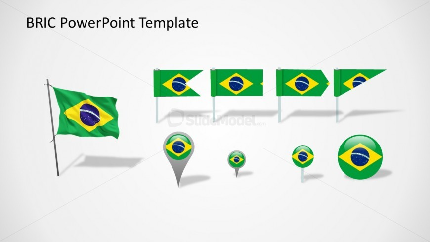 Brazil Flags Slide for PowerPoint