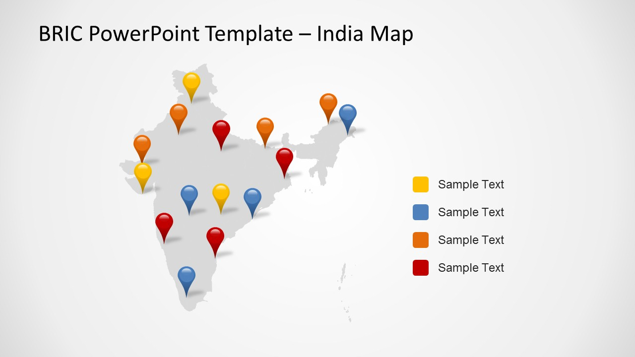 Bric maps template for powerpoint slidemodel for India map ppt template