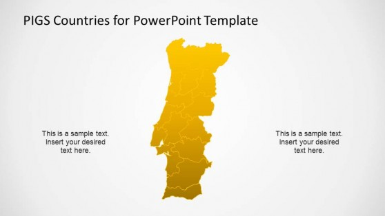 Portugal PowerPoint Political Map with States Borders