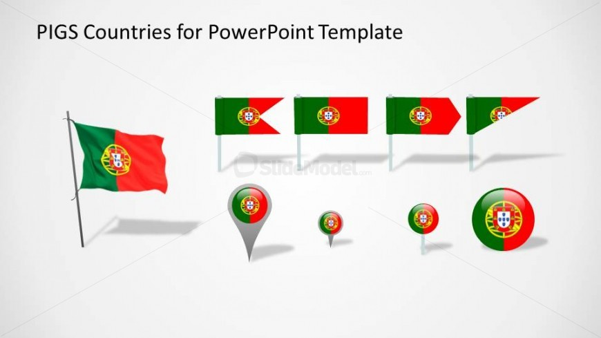 Icons and Flags with the Portugal flag colors
