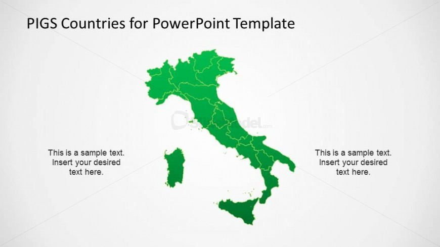 Political PowerPoint Map of Italy with States