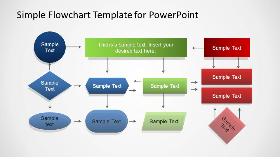 simple flowchart template for powerpoint three layers flowchart created with powerpoint elements