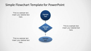 PowerPoint flowchart with start, conditional and end elements