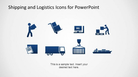 Flat Design Shipping and Logistics Theme PowerPoint Icons