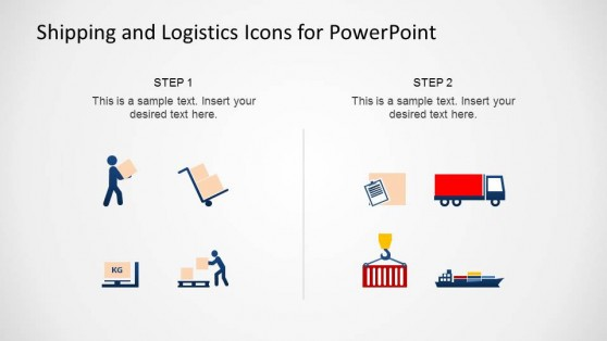 Modern Flat Design PowerPoint Icons of Shipping and Logistics Theme