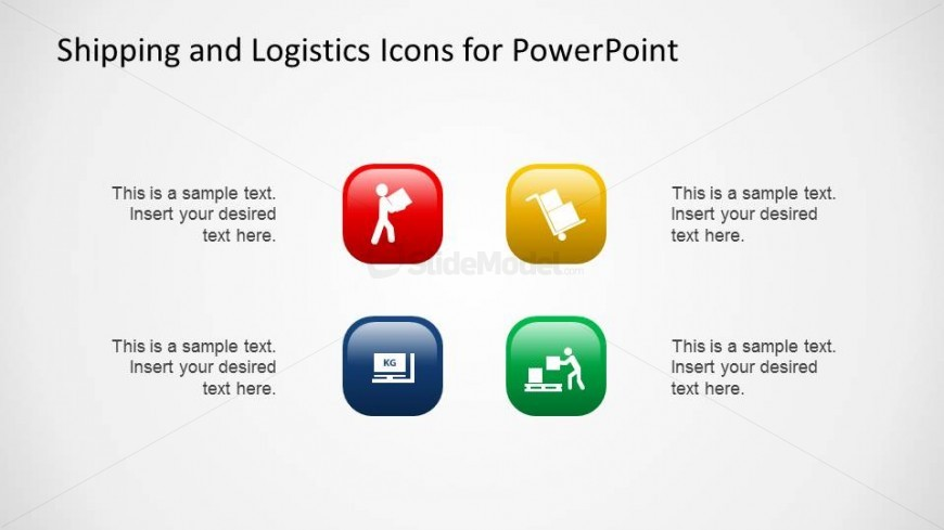 Shipping and Logistics Red Blue Background Icons with Lighting Effect