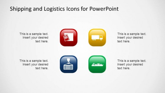 3D Flat Lighting Effect Logistics and Shipping PowerPoint Icons