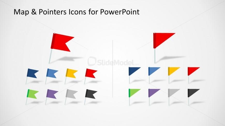 flag map marker shape set for powerpoint slidemodel