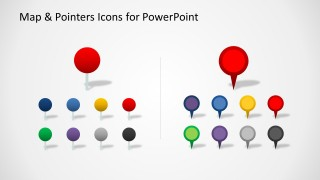 Colorful map ointer icons for PowerPoint with circles and shadow useful to pin map locations in the slide