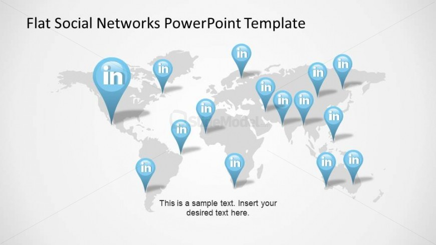 world map with linkedin gps markers slide slidemodel
