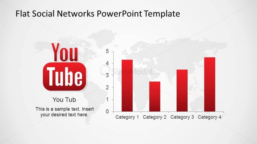 YouTube PowerPoint Logo With Data Driven Bar Chart