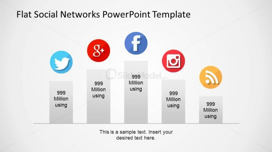 Flat Bar Chart with Social Network Icons on Top