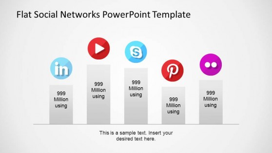 Flat Bar Chart Labeled with Social Network Icons
