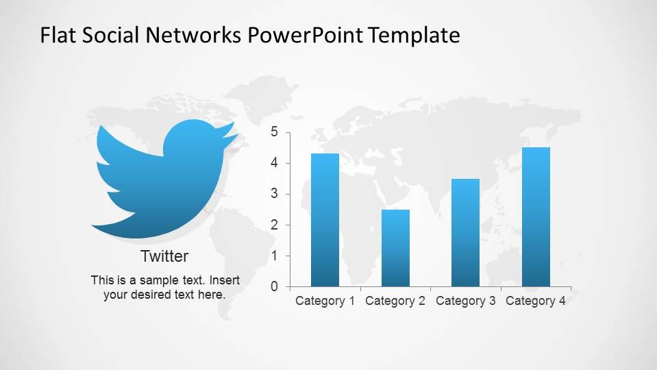 Twitter Logo and Bar Chart indicators for PowerPoint