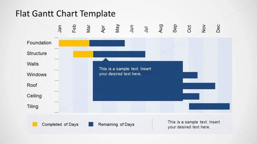 Simple Flat Gantt Chart Slide Design for PowerPoint