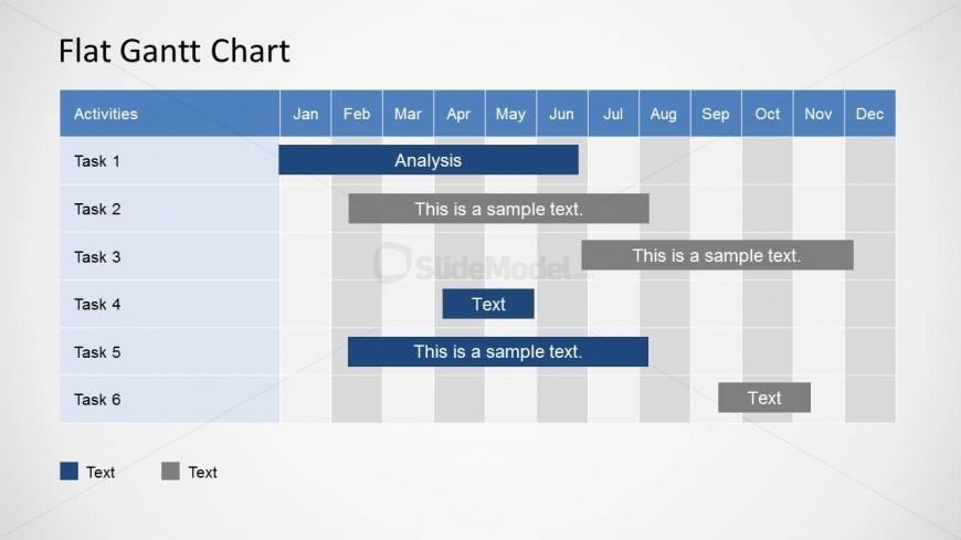 gantt chart monthly: Flat powerpoint gantt chart year plan by month slidemodel