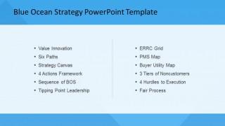 PowerPoint Slide of Blue Ocean Strategy List of Tools