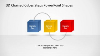 Three Chained 3D Cubes Steps Diagram