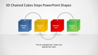 3D Chained Cubes 4 Steps Diagram