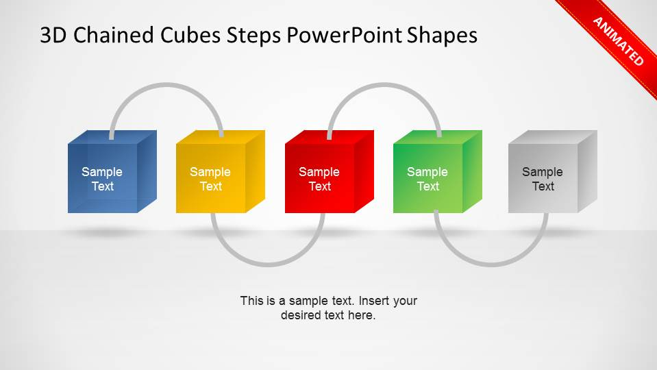 3d Chained Cubes Steps Powerpoint Shapes Slidemodel