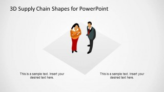 3D Supply Chain Diagram Customers Shape for PowerPoint