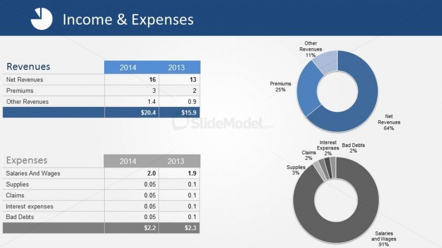 Data Driven Donut Charts of  Revenues and Expenses