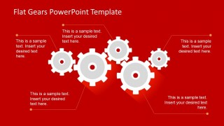 4 Gear Shapes for PowerPoint Slides over Red Background
