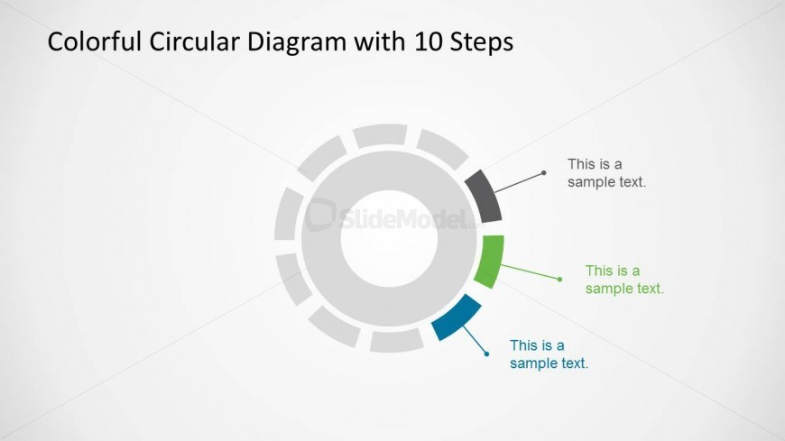 Creative Circular Diagram with 3 Highlighted Elements